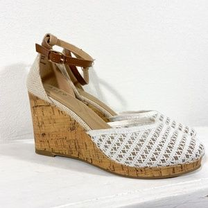 NIB White Mesh Wedges with Ankle Strap Size 9.5